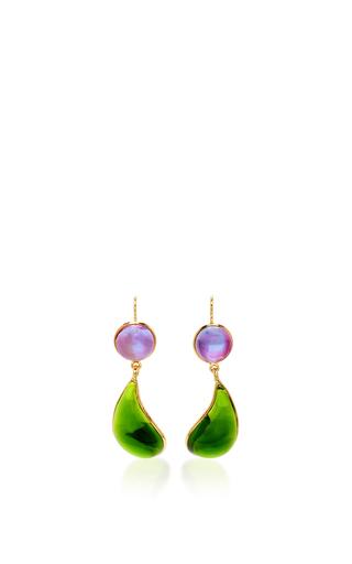 Medium loulou de la falaise green 24k gold plated drop earrings 4