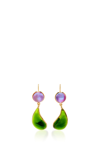 Medium loulou de la falaise green 24k gold plated drop earrings 4