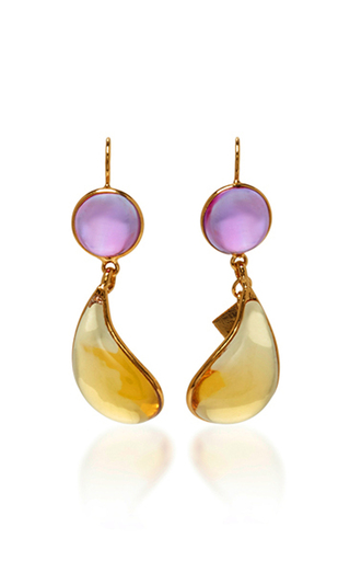 Medium loulou de la falaise yellow 24k gold plated drop earrings 5