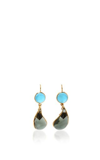 Medium loulou de la falaise blue 24k gold plated drop earrings 6
