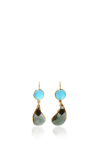 Medium loulou de la falaise blue 24k gold plated drop earrings 6