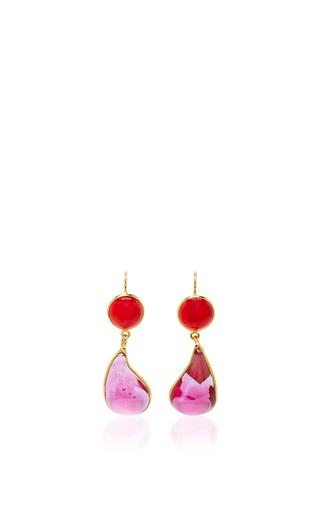 Medium loulou de la falaise pink 24k gold plated drop earrings 7
