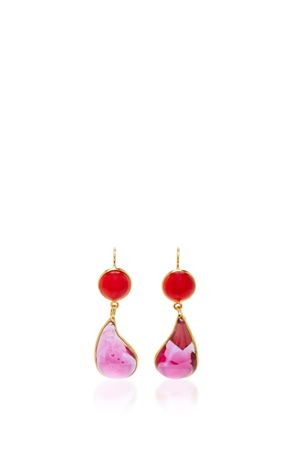 Medium loulou de la falaise pink 24k gold plated drop earrings 7
