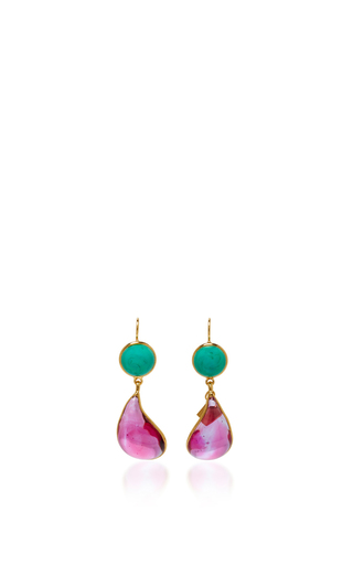 Medium loulou de la falaise pink 24k gold plated drop earrings 8