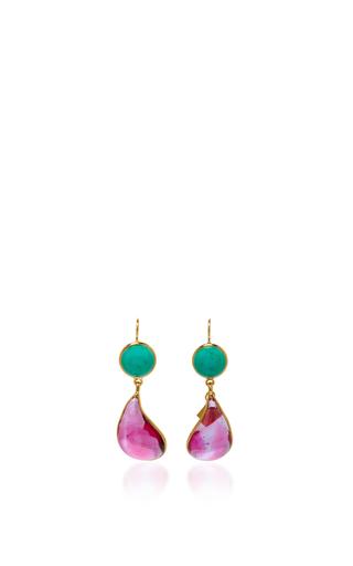 Medium loulou de la falaise pink 24k gold plated drop earrings 8