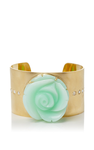 Medium irene neuwirth green flower carved opal bracelet