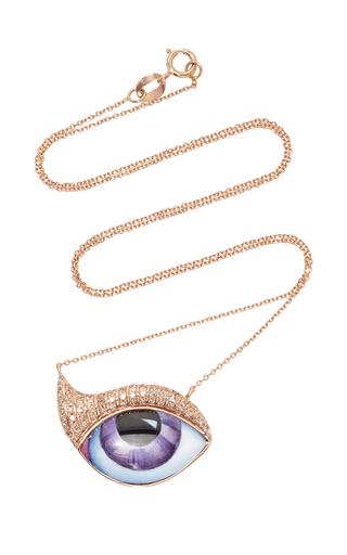 Medium lito purple 14k pink gold eye necklace