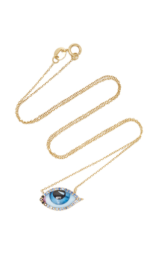 Medium lito blue 14k yellow gold enamelled eye necklace