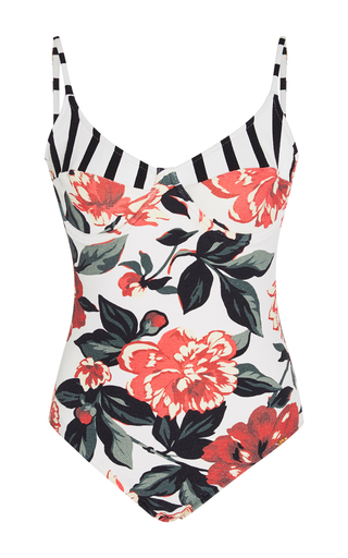 Medium salinas floral floral and stripe swimsuit