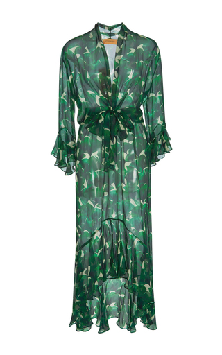Medium adriana degreas print ginkgo leaf ruffle dress