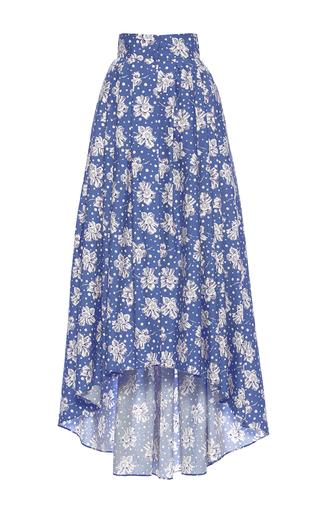 Medium luisa beccaria print cotton printed maxi skirt with train