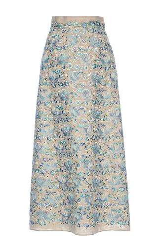 Medium luisa beccaria print linen embroidered maxi skirt