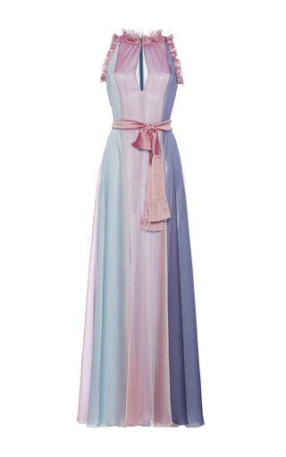 Medium luisa beccaria multi chiffon tricolor maxi dress