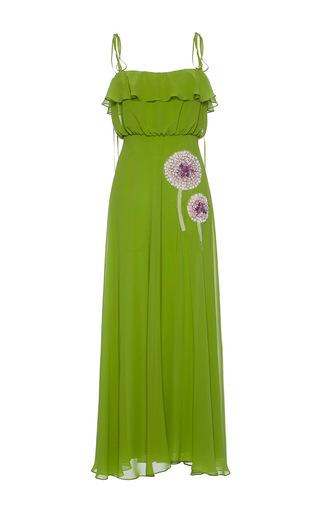 Medium luisa beccaria green georgette dress with balzina embroidery