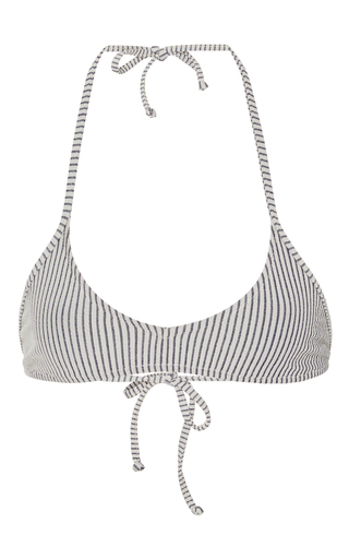 Medium made by dawn light grey shell picker striped bikini top