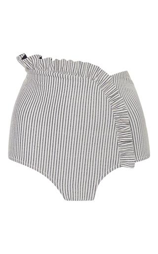 Medium made by dawn light grey arc ruffle striped bikini bottom