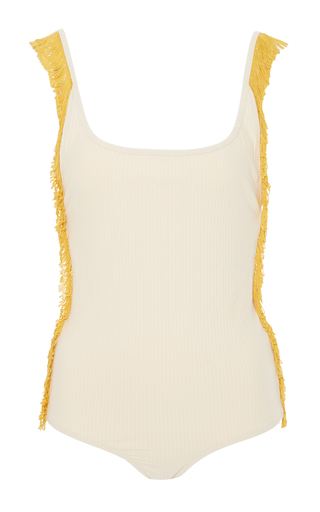 Medium made by dawn white petal 2 fringed swimsuit