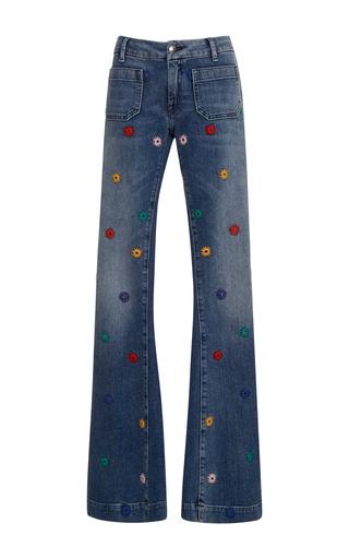 Medium seafarer dark wash penelope embroidered flare jeans