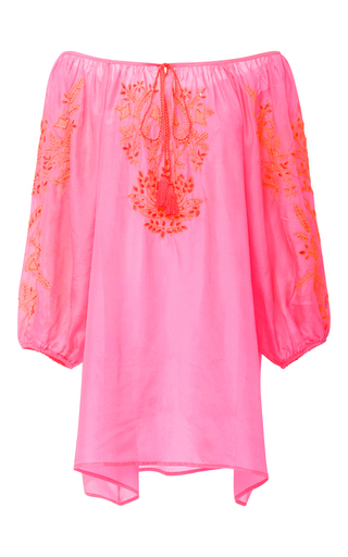 Medium juliet dunn pink embroidered off the shoulder mini dress