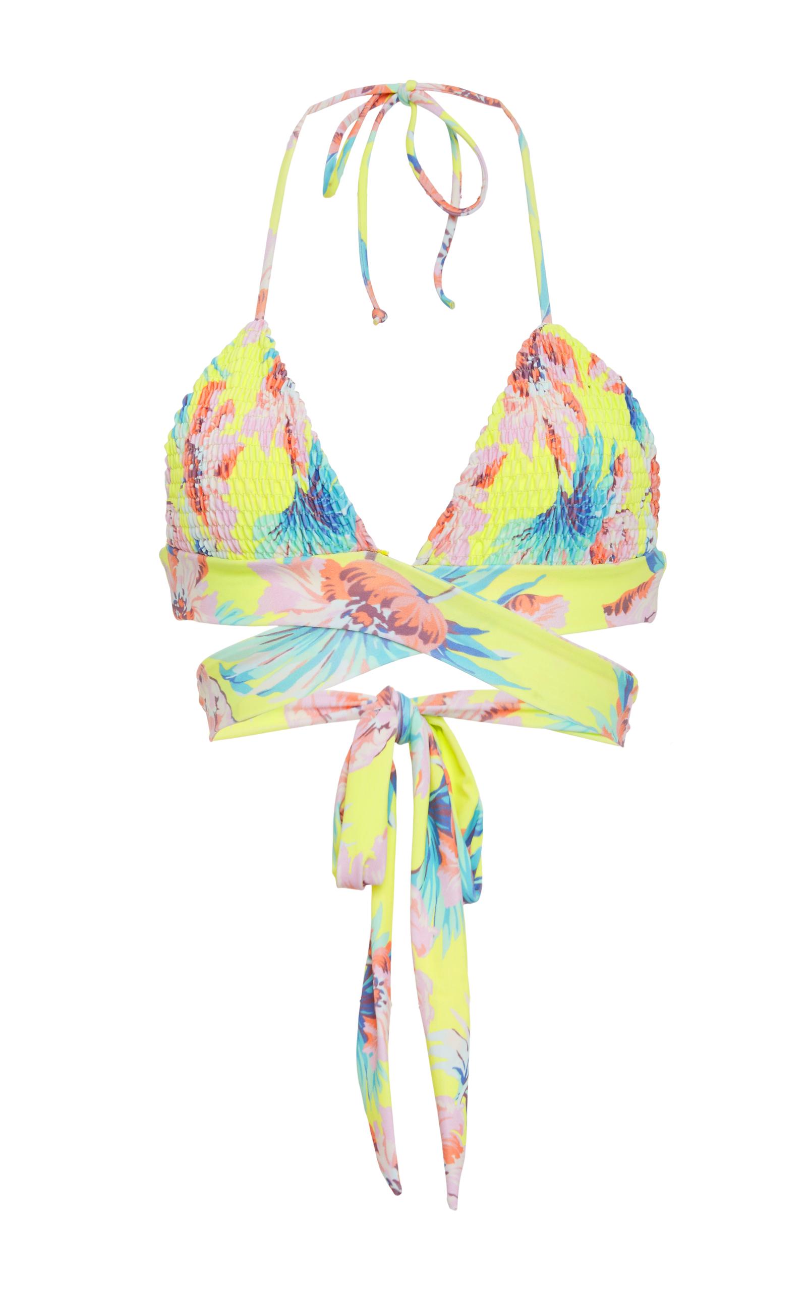 Myra Wrap Smocked Bikini Top