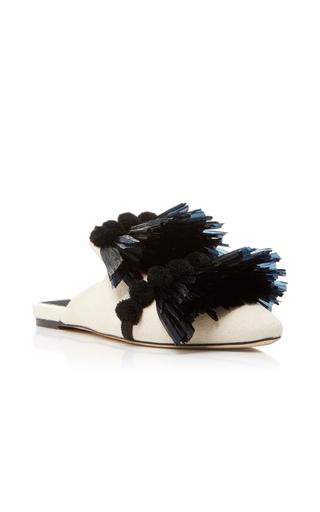 Medium sanayi 313 black raffia pom pon slippers