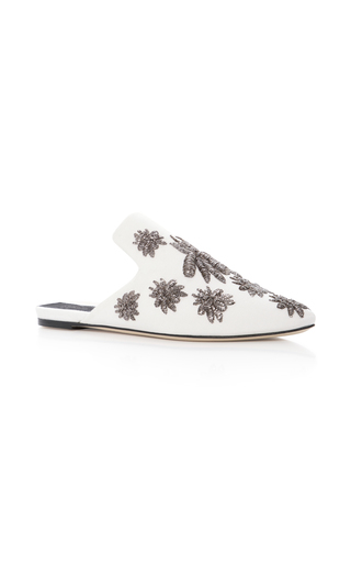 Medium sanayi 313 white ragno embroidered faille slippers