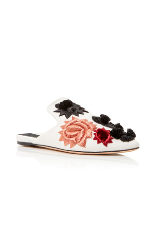 Medium sanayi 313 ivory saponaria embroidered canvas slippers