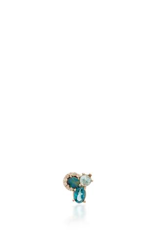 Medium eden presley blue tri stud earrings 2