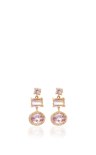 Medium eden presley pink amethyst and sapphire diamond earrings
