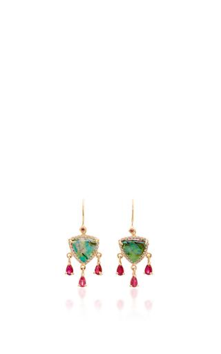 Medium eden presley green sterling opal and ruby diamond earrings