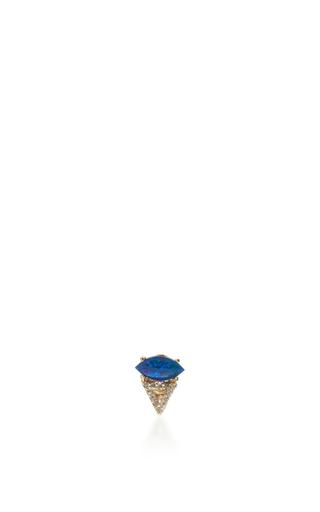 Medium eden presley blue marquise and opal diamond triangle stud earring
