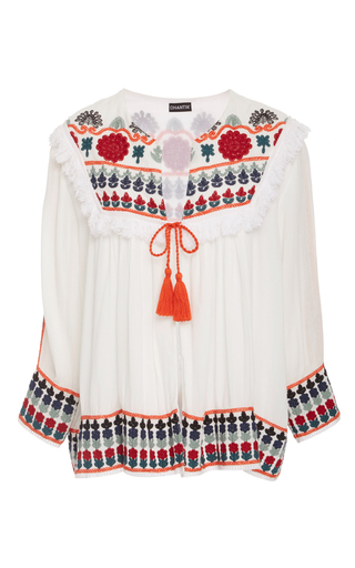 Medium chantik white floral embroidered jacket