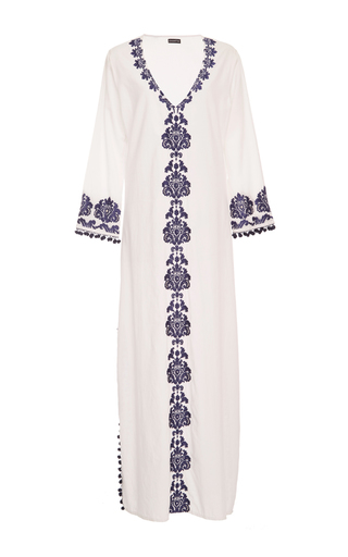 Medium chantik white long embroidered caftan