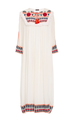 Medium chantik white floral embroidered dress