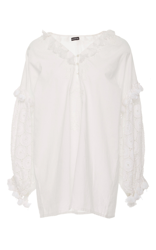 Medium chantik white floral embroidered eyelet tunic