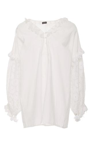Medium chantik white floral embroidered eyelet tunic
