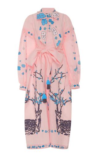 Medium yuliya magdych pink blossoming deer scarf neck midi dress