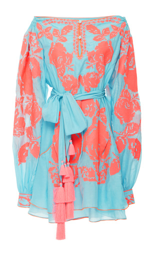 Medium yuliya magdych turquoise roses batiste mini dress