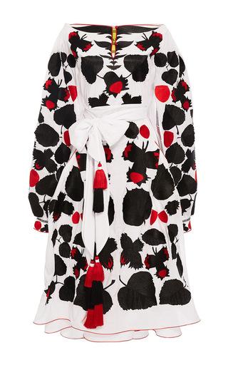 Medium yuliya magdych floral nutwood midi off the shoulder dress