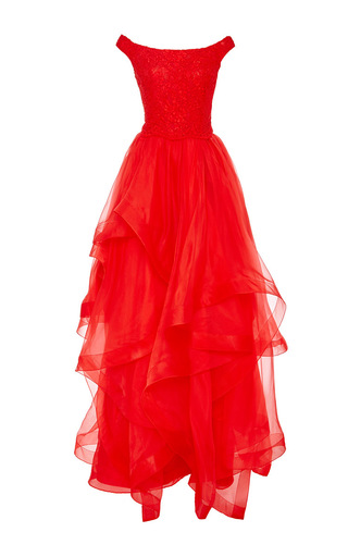Medium reem acra red tiered organza gown with lace bodice