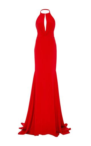 Medium cristina ottaviano red plunging keyhole halter gown