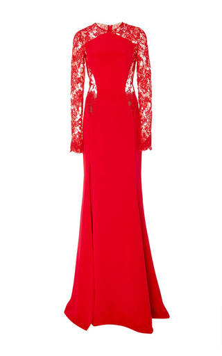 Medium cristina ottaviano red contour lace long sleeve gown
