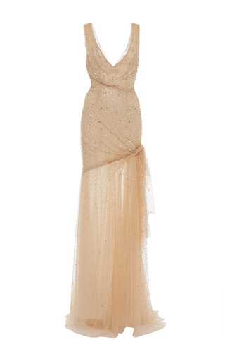 Medium monique lhuillier nude gold embroidery sleeveless draped gown