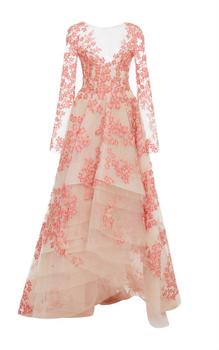 Medium monique lhuillier multi embroidered floral v neck high low gown