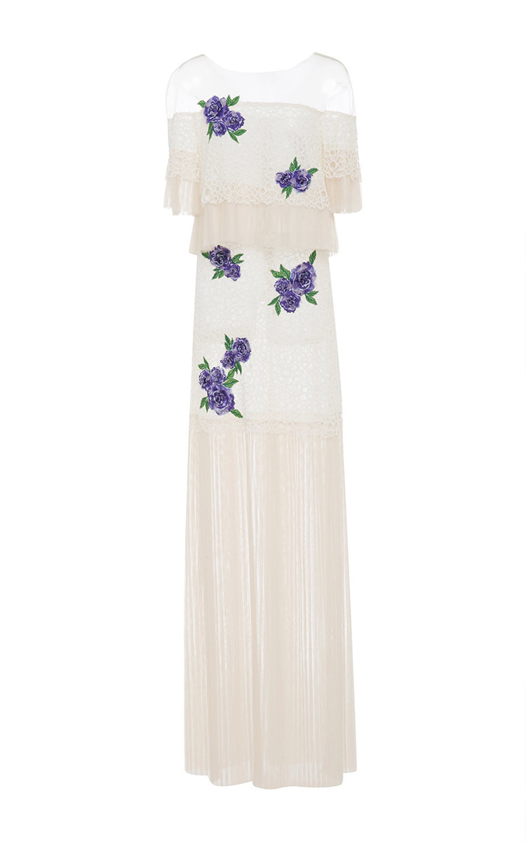 Corded Lace Dress With Embroidered Fleur Applique