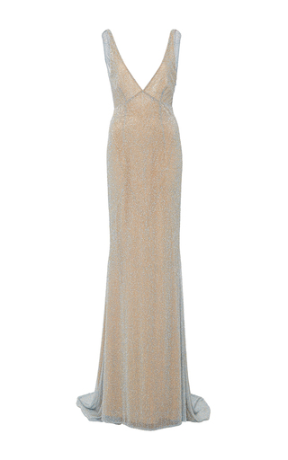 Medium naeem khan silver beaded v neck gown