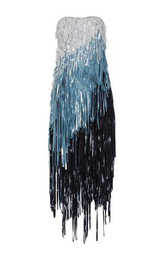 Medium mathieu mirano multi liquid silk fringe strapless dress blue ombre