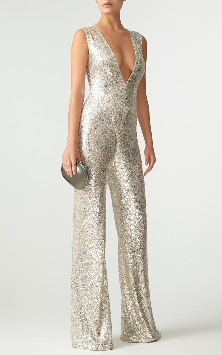 Silver Sequin Jumpsuit - Breeze Clothing