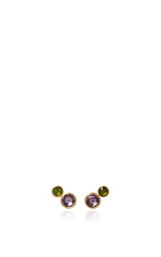 Medium marco bicego purple 18k yellow gold two stone stud 2