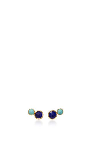 Medium marco bicego blue 18k yellow gold two stone stud 3